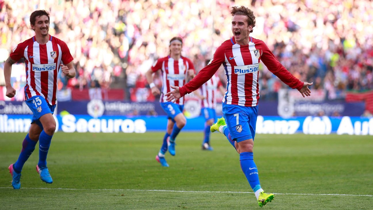 Antoine Griezmann celebrates his goal against Sevilla.