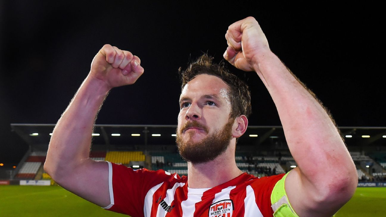 Ryan McBride of Derry City after the match against Shamrock Rovers.
