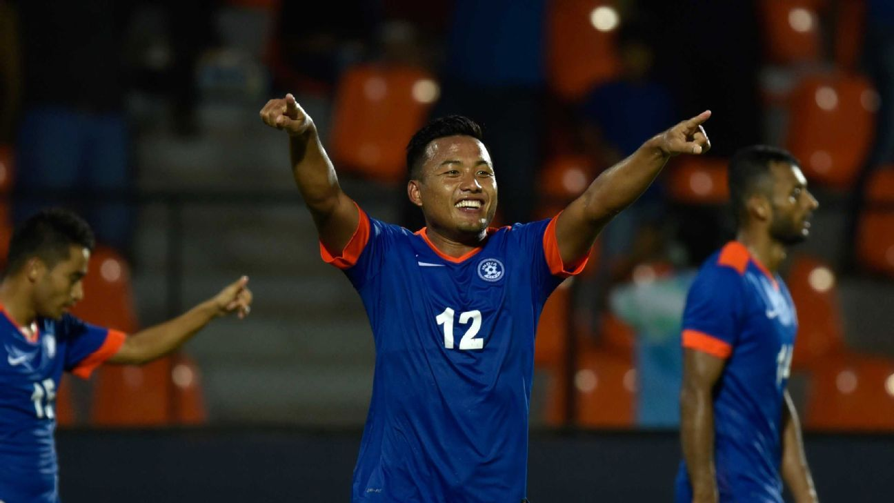 Jeje celebrates a goal during India's win over Puerto Rico in an international friendly in September 2016.
