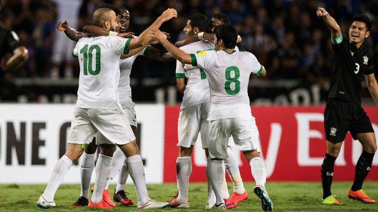 Saudi Arabia celebrate the opening goal against Thailand.