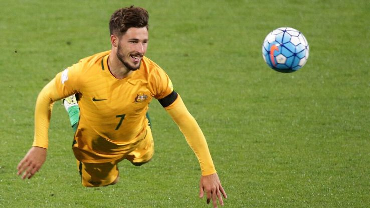 Mathew Leckie opened the scoring for Australia against Iraq.