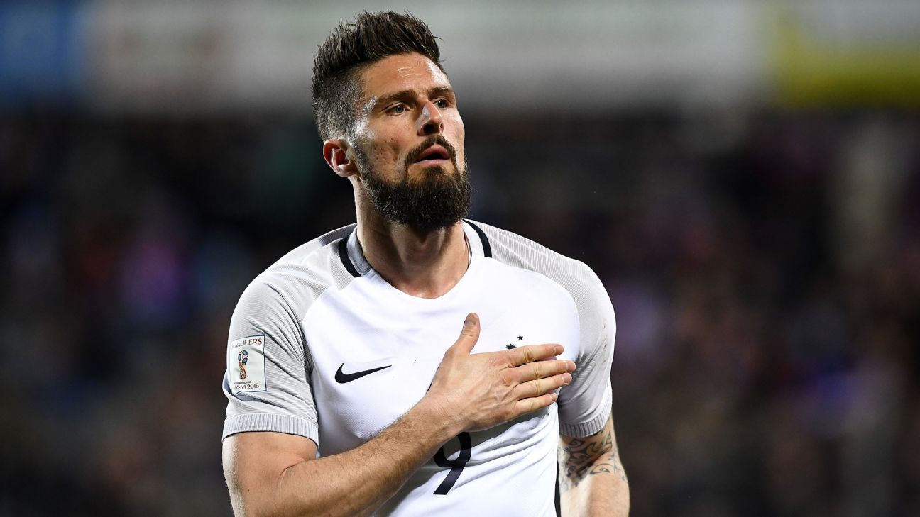 Olivier Giroud scored twice for France on Saturday.