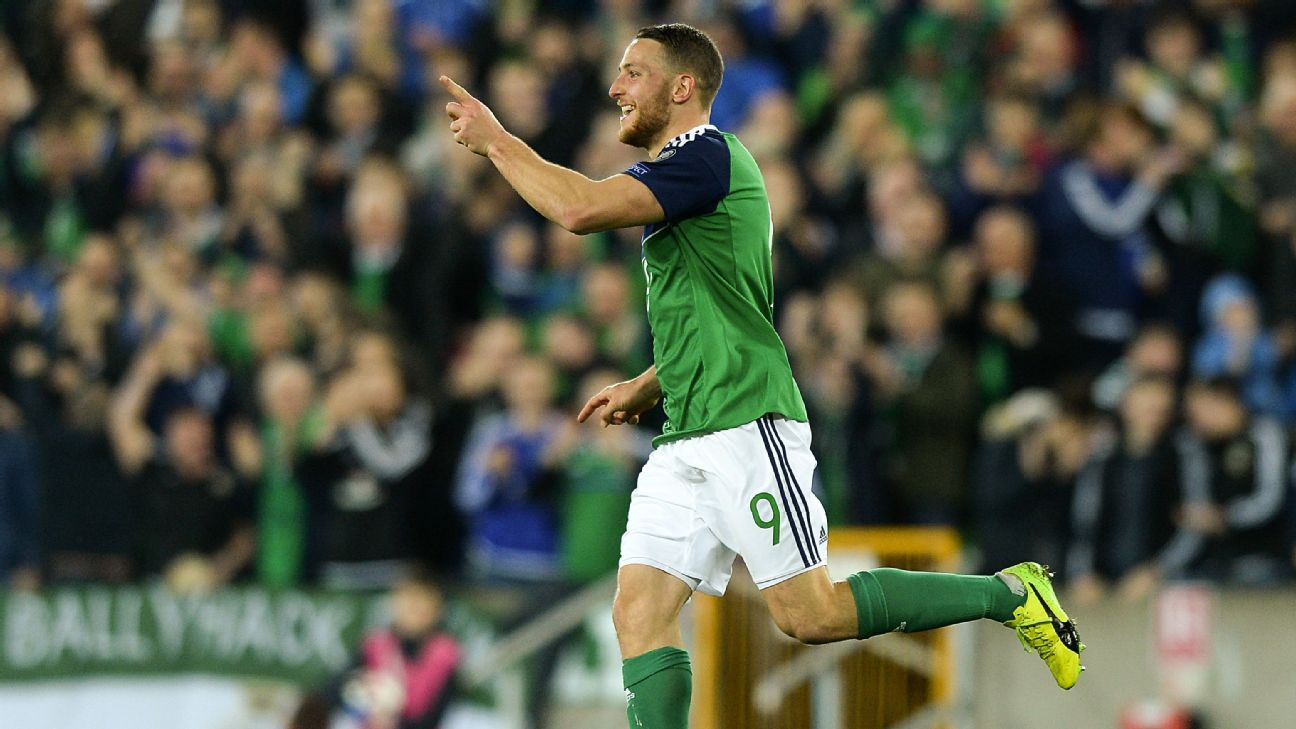 Conor Washington celebrates after scoring a goal for Northern Ireland against Norway.