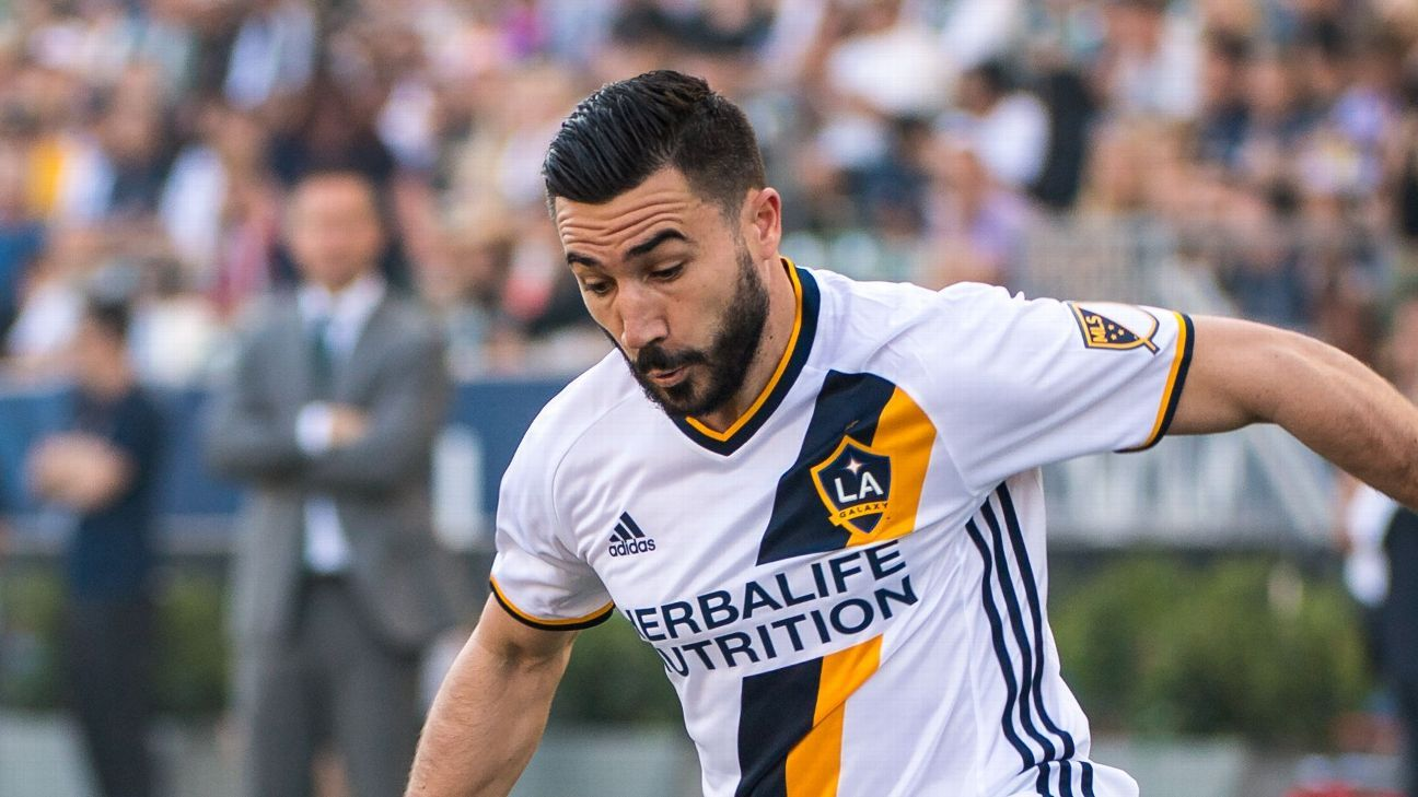 Romain Alessandrini in action for LA Galaxy against Portland Timbers in March 2017.