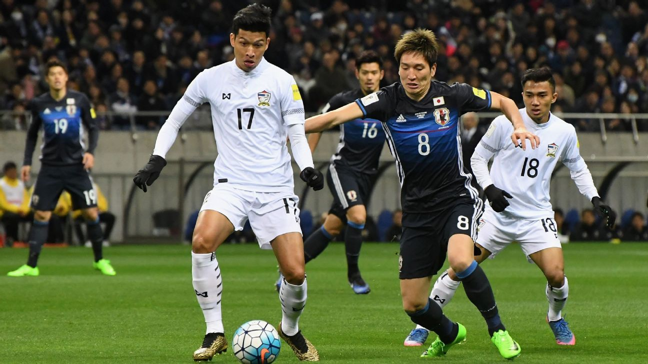 Thailand move Tanaboon into midfield but fall short in 4-0 loss to Japan