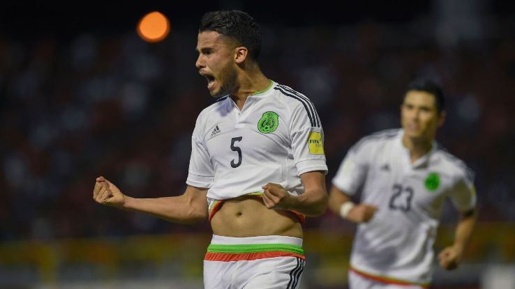Diego Reyes celebrates after scoring a goal for Mexico against Trinidad and Tobago.