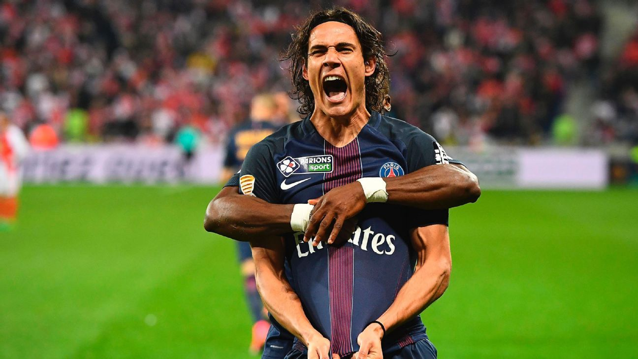 Edinson Cavani scored twice to cap PSG's win in the league cup final.