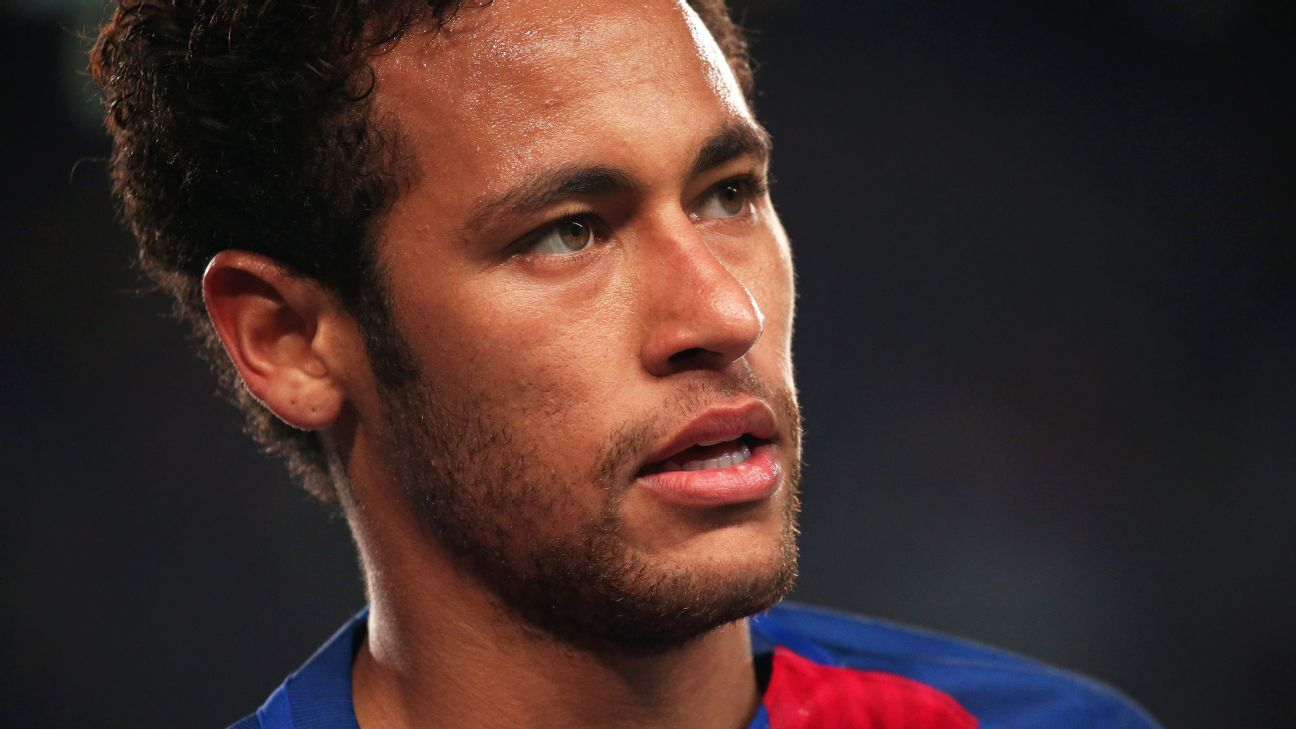 Neymar falls on his backside while trying a football trick