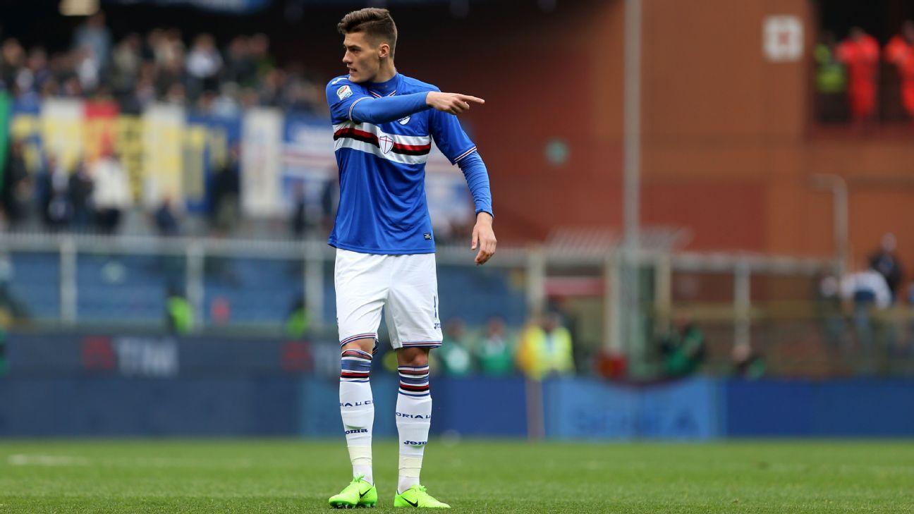 Patrik Schick in action for Sampdoria against Juventus in March 2017.