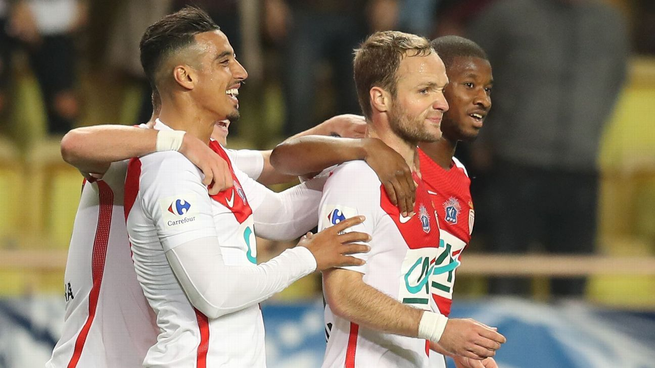 Valere Germain celebrates one of his two goals Monaco's win on Tuesday.