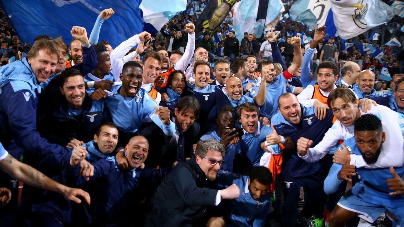Lazio celebrate making it through to the Coppa Italia final.