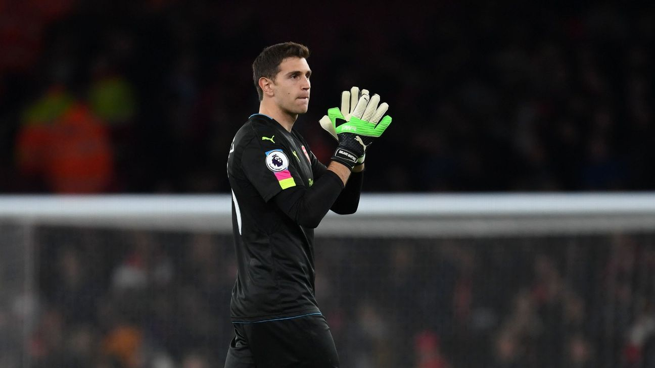 Emiliano Martinez after the Premier League match between Arsenal and West Ham United in April 2017.