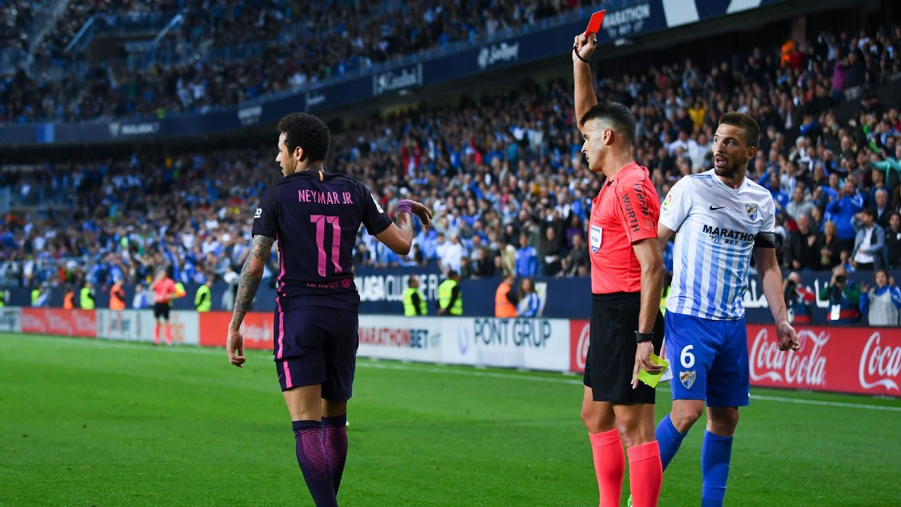Neymar received a second yellow in the second half and Barcelona could not rally at Malaga.