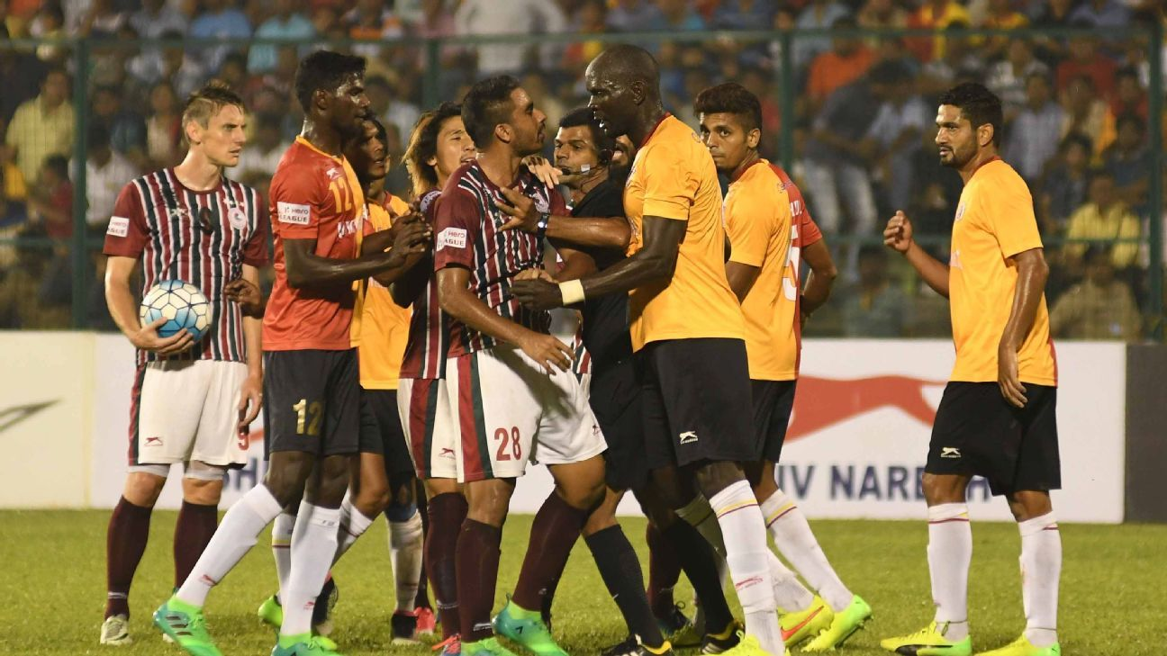 There was no shortage of heated exchanges in the tie which saw East Bengal go down to ten men in the second half.