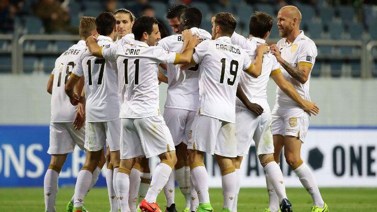 Adelaide United celebrate scoring in ACL v Jeju