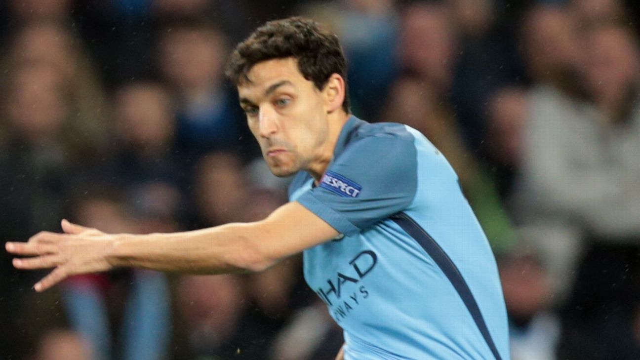 Jesus Navas in action for Manchester City during their Champions League game against Celtic.