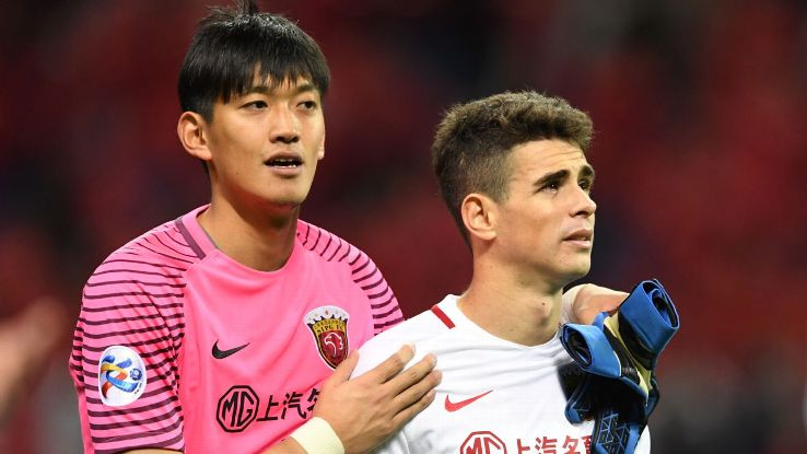 Oscar after missing a penalty for Shanghai SIPG in ACL