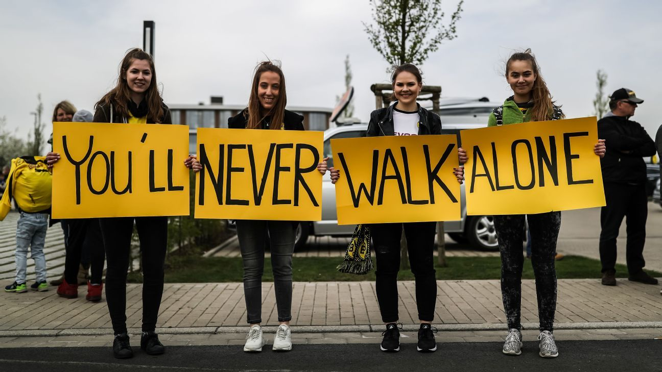 Borussia Dortmund supporters welcomed players with a You'll Never Walk Alone sign at the club's Dortmund Brackel Training Ground.