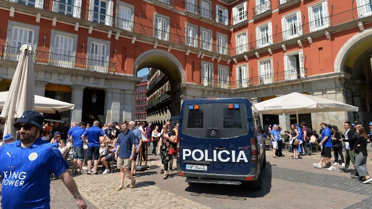 Leicester fans and police Madrid