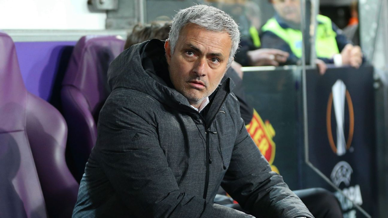 Jose Mourinho during the Europa League quarterfinal first leg match between Anderlecht and Manchester United.