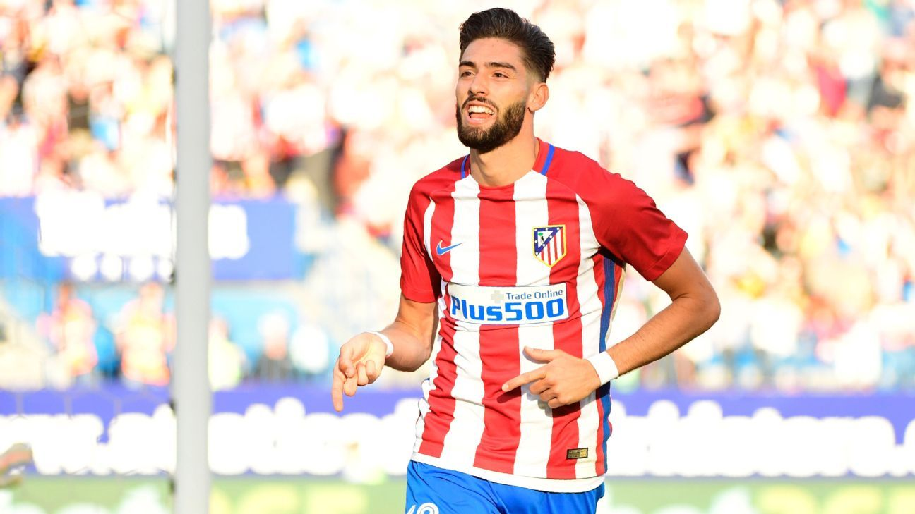 Yannick Carrasco celebrates after scoring his second goal.