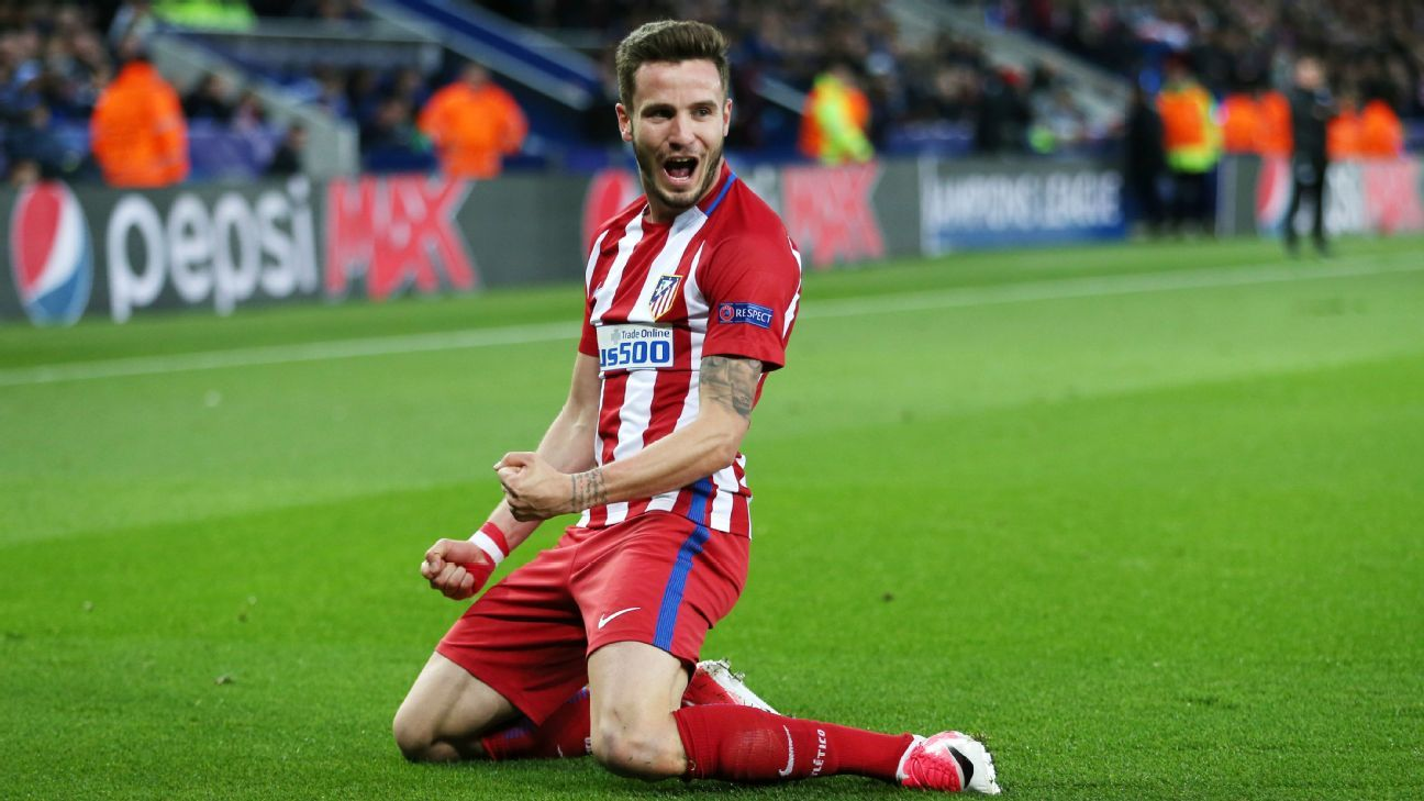 Saul celebrates after scoring Atletico Madrid's opener in a 1-1 draw against Leicester.