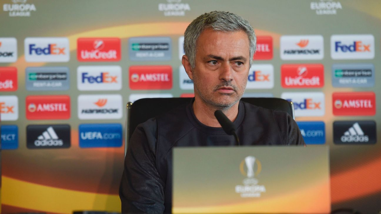 Jose Mourinho during a news conference to preview Manchester United's Europa League quarterfinal second leg against Anderlecht.