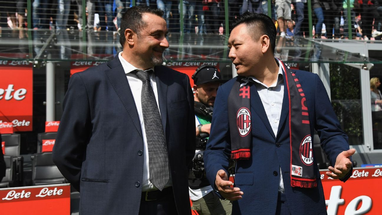Massimo Mirabelli, AC Milan's new technical director, alongside board member David Han prior to the Serie A game against Inter Milan.