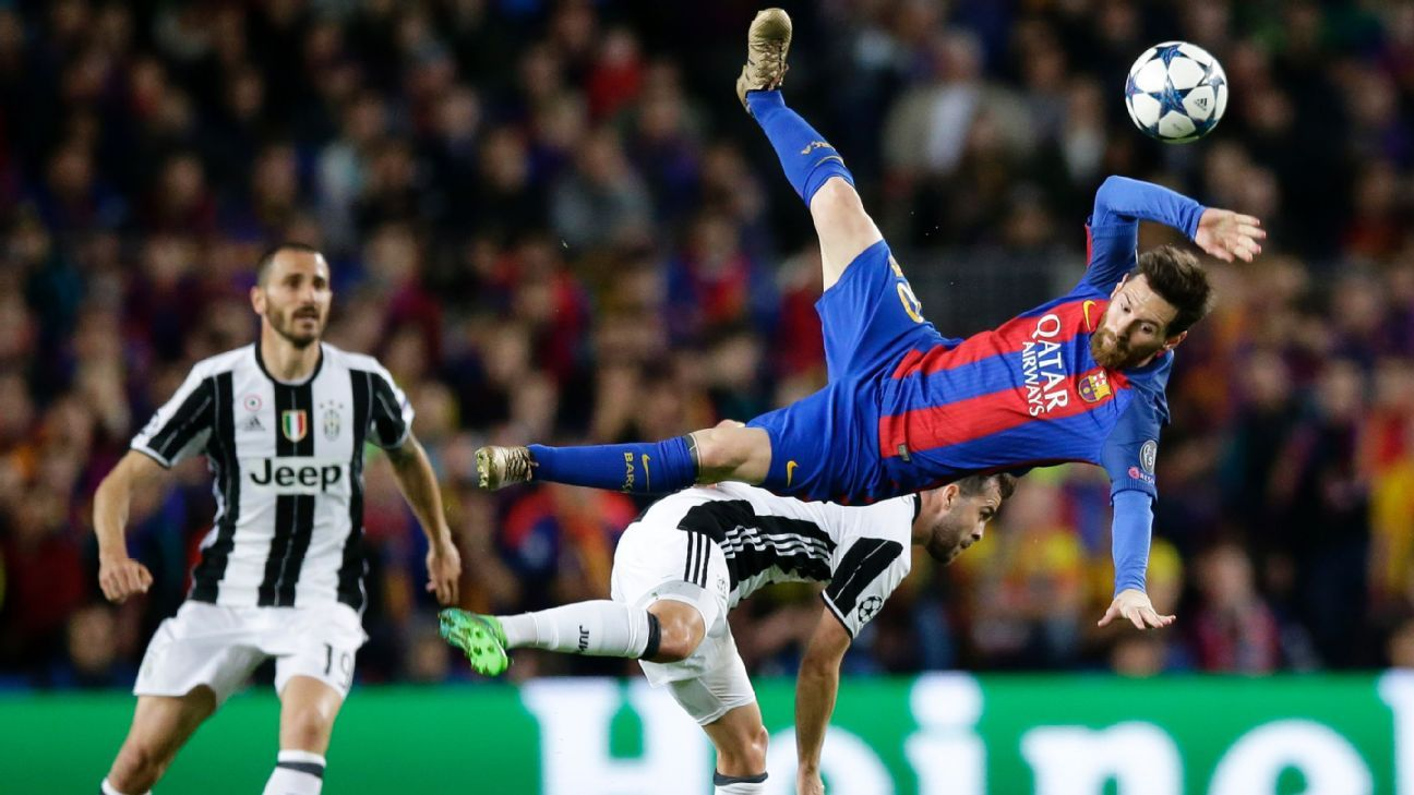 Lionel Messi went flying under a challenge in the first half.