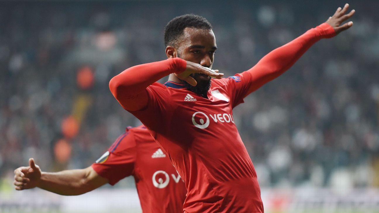 Alexandre Lacazette and Lyon advanced to the Europa League semis on Thursday.