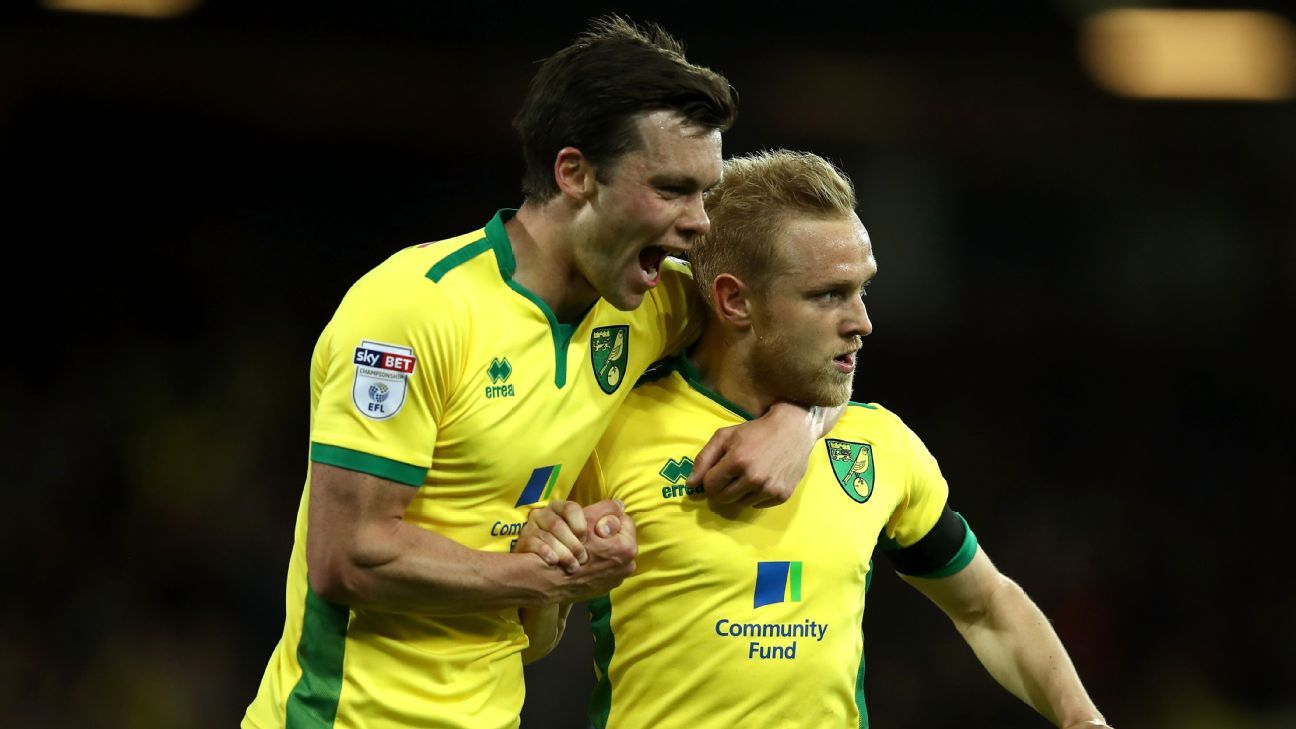 Norwich City players celebrate after a David Stockdale own goal put them up 2-0 against Brighton.