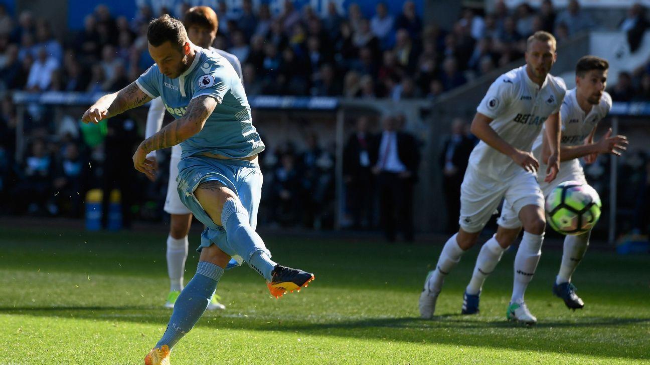 Alarm bells ring for Mark Hughes as shambolic Stoke lose at Swansea