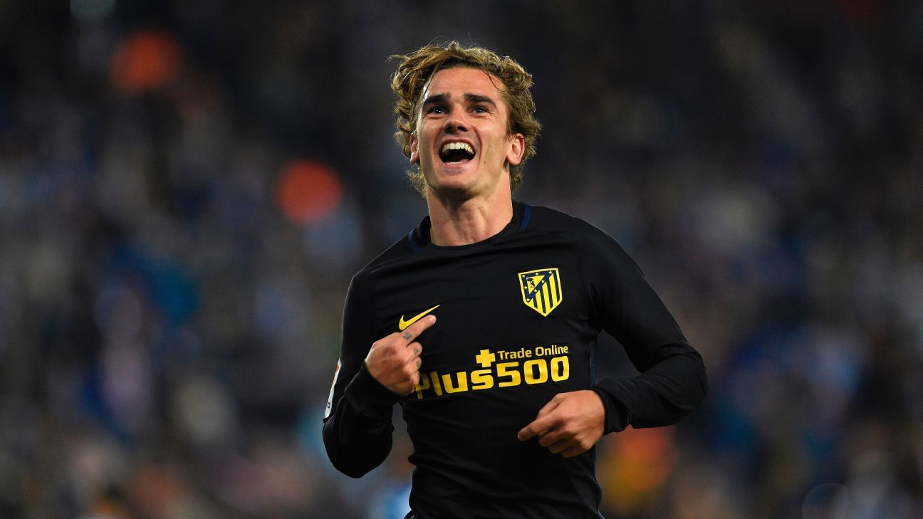 Antoine Griezmann celebrates after scoring a goal for Atletico Madrid versus Espanyol.