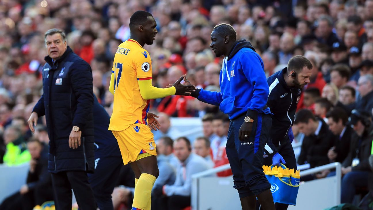 Christian Benteke celebrates his first goal with Mamadou Sakho, on loan at Palace from Liverpool.