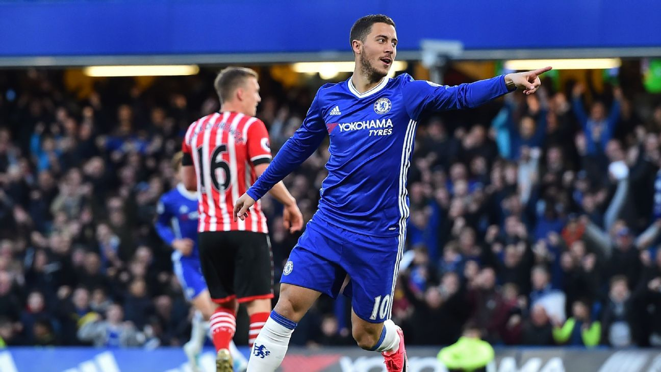 Eden Hazard celebrates after opening the scoring for Chelsea in their Premier League match against Southampton on Tuesday.