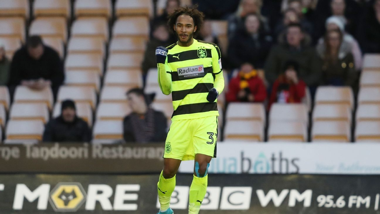 Huddersfield Town's Isaiah Brown celebrates after scoring the only goal in his team's 1-0 win against Wolves.