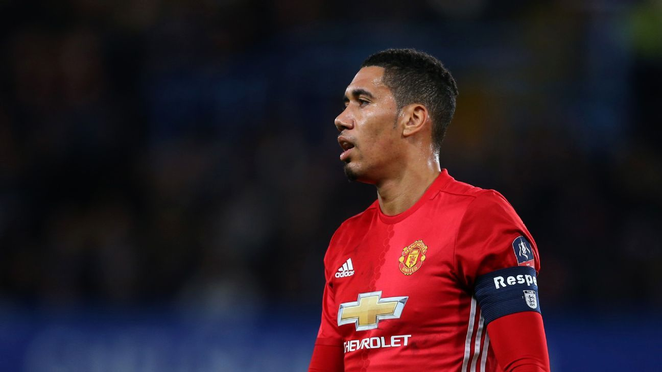 Chris Smalling in action for Manchester United in their FA Cup quarterfinal clash against Chelsea in March 2017.