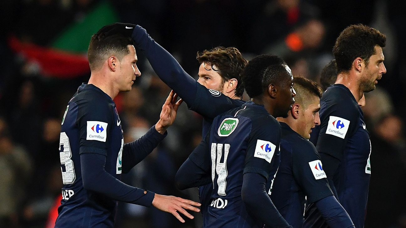 PSG players congratulate Julian Draxler after he opened the scoring for his team against Monaco.