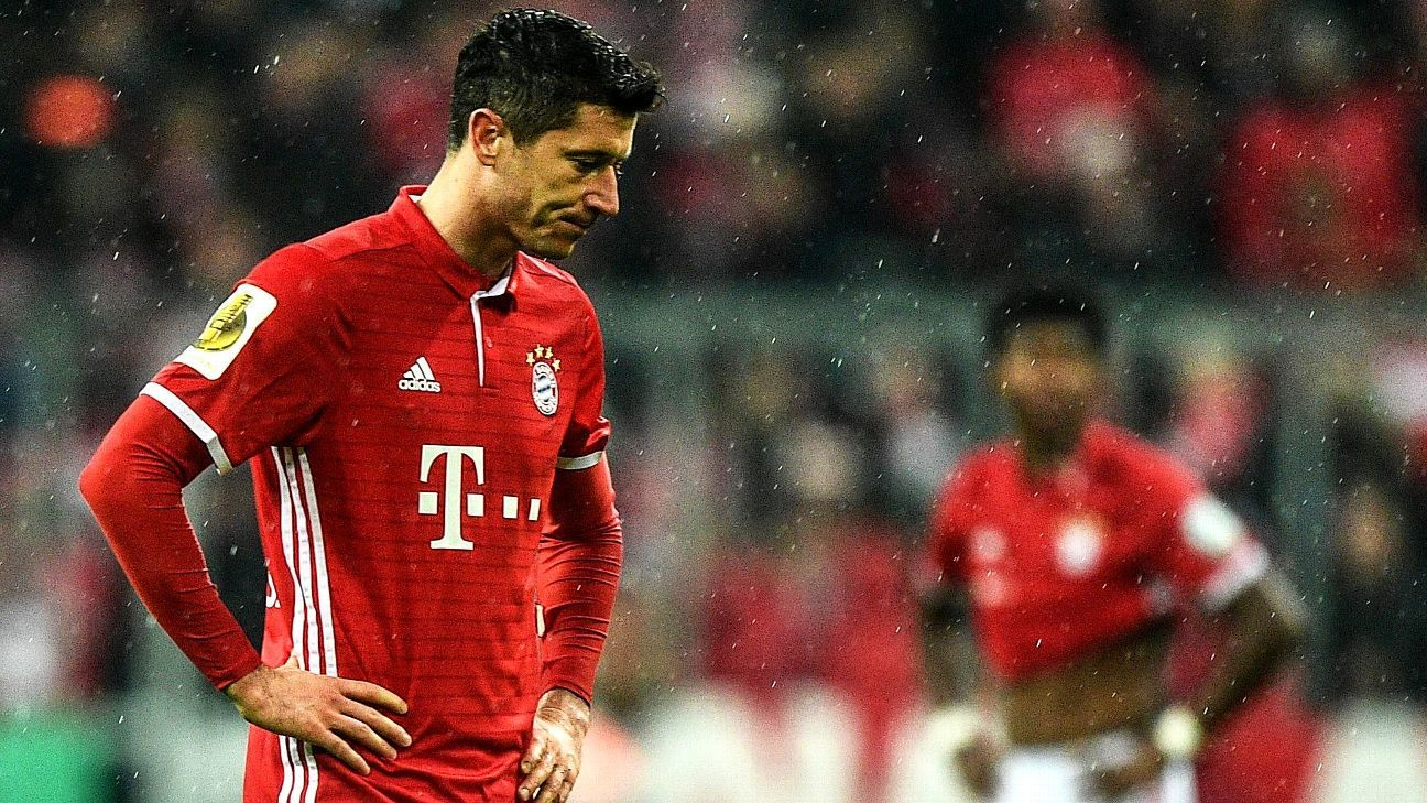 Robert Lewandowski saw several chances go begging in Bayern's stunning loss to Borussia Dortmund.