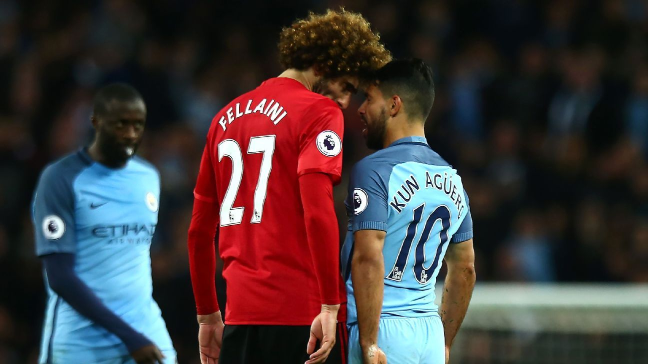 Marouane Fellaini was dismissed late on for head-butting Sergio Aguero.