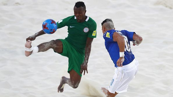 Godspower Igudia of Nigeria during the FIFA Beach Soccer World Cup Bahamas 2017.
