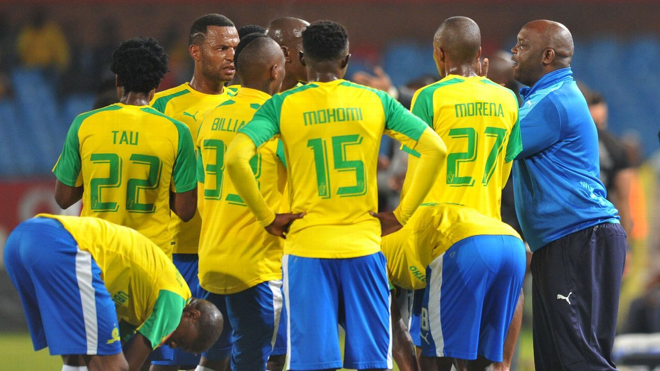 Mamelodi Sundowns coach Pitso Mosimane and players.