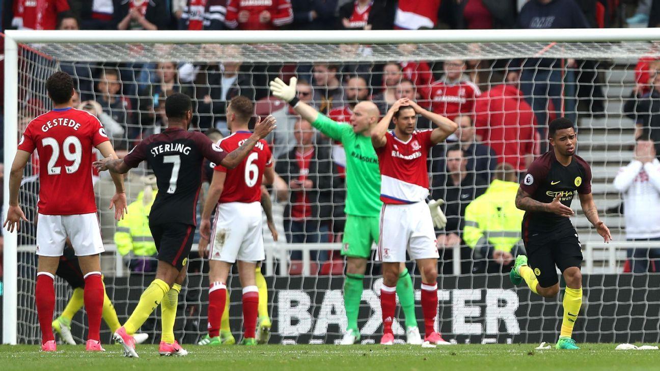 Gabriel Jesus celebrates his late equaliser against Middlesbrough.