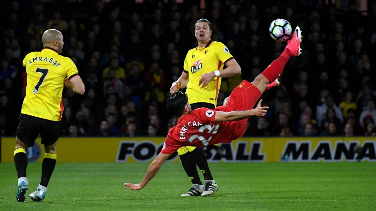 Emre Can scored from a stunning overhead kick to put Liverpool in front.