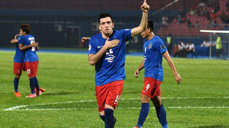 Gabby Guerra celebrates JDT goal in 2017 AFC Cup