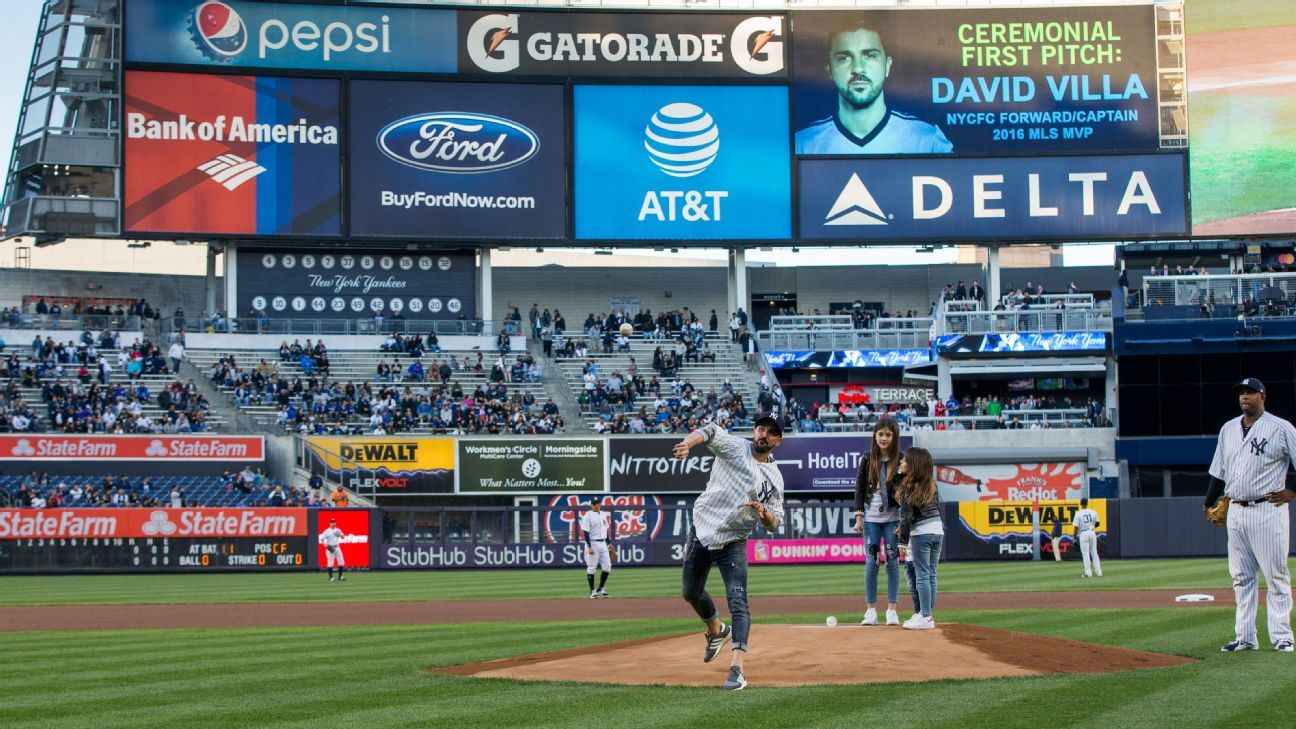 Villa first pitch Yankee stadium 170503