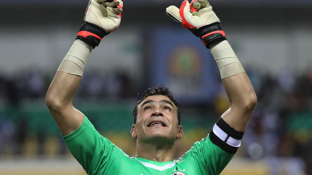 Essam El Hadary of Egypt celebrates after saving Bertrand Traore of Burkina Faso penalty in shootout  during the 2017 African Cup of Nations Finals Afcon semifinal football match between Burkina Faso and Egypt at the Libreville Stadium in Gabon.