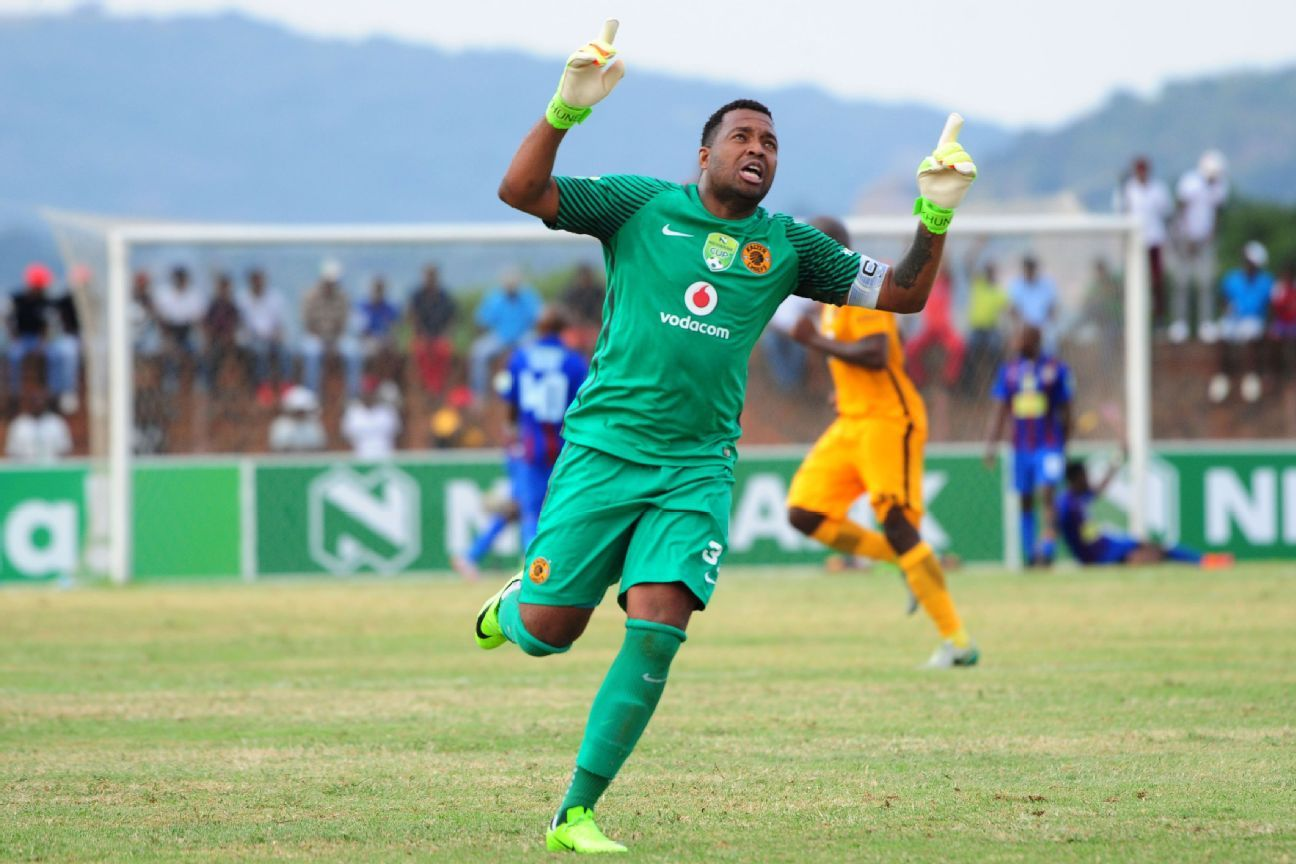 Itumeleng Khune of Kaizer Chiefs celebrates a goal during the 2017 Nedbank Cup match between Acornbush United and Kaizer Chiefs at the Kabokweni Stadium.