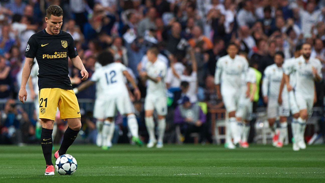 Kevin Gameiro reacts after the first goal during the UEFA Champions League semifinal first leg between Real Madrid and Atletico Madrid at the Bernabeu on May 2, 2017 in Madrid.