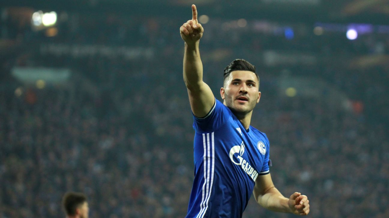 Sead Kolasinac celebrates after scoring a goal during the Europa League second leg quarterfinal match between Schalke and Ajax at the Veltins Arena in Gelsenkirchen, Germany on April 20, 2017. (Photo by Leon Kuegeler/Anadolu Agency/Getty Images)